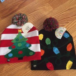 Brand New 2 Light up Christmas winter hats Holiday